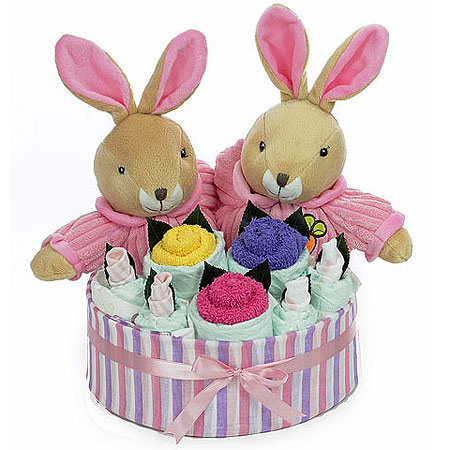 Twin Girl Rabbit Bouquet
