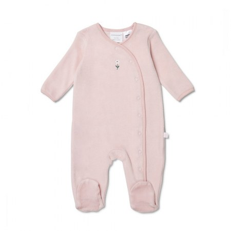 Marquise Velour Studsuit Flower Pink